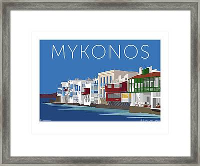 Mykonos Little Venice - Blue Framed Print
