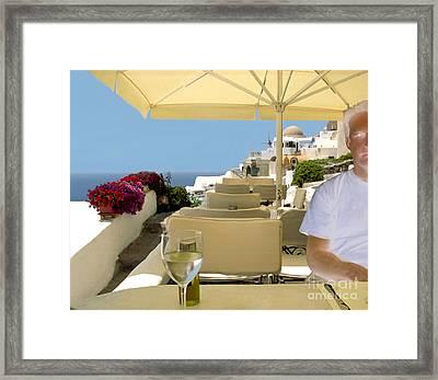 Mykonos Restaurant Framed Print by Madeline Ellis