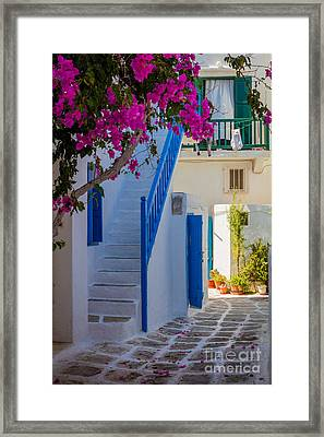 Mykonos Staircase Framed Print by Inge Johnsson
