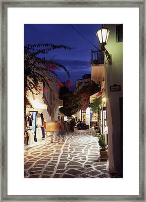 Mykonos Town At Night Framed Print by Steve Outram