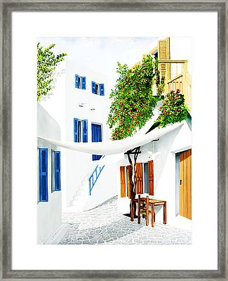 Mykonos Walk - Prints Of Original Oil Painting Framed Print by Mary Grden's Baywood Gallery