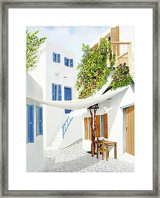 Mykonos Walk - Prints From My Original Oil Painting Framed Print