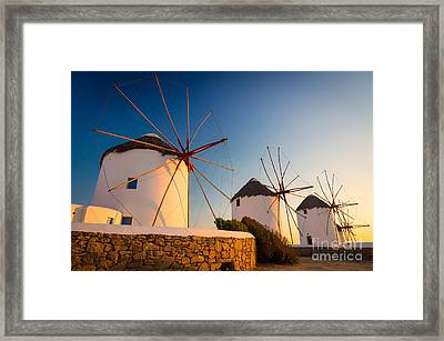 Mykonos Windmills Framed Print by Inge Johnsson