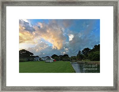Mylor Bridge Playing Field At Sunset Framed Print