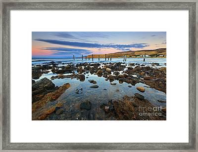 Myponga Beach Jetty Ruins Sunset Framed Print by Bill  Robinson