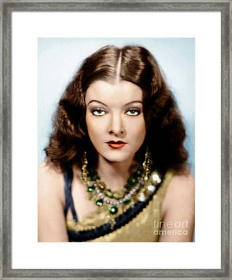 Framed Print featuring the photograph Myrna Loy by Granger