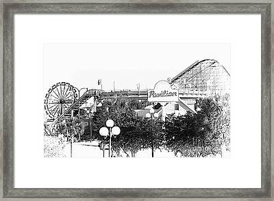 Myrtle Beach Pavillion Amusement Park Monotone Framed Print