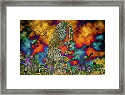 Framed Print featuring the photograph Myrtle Beach Skywheel Abstract by Bill Barber