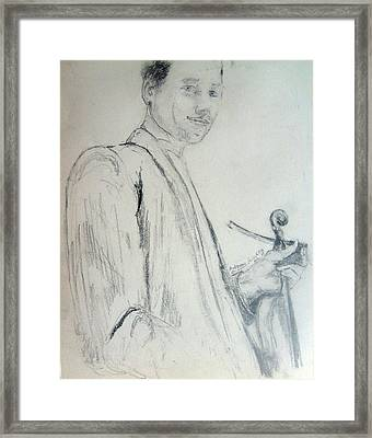 Framed Print featuring the drawing Myself With A Violin by Andrew Gillette