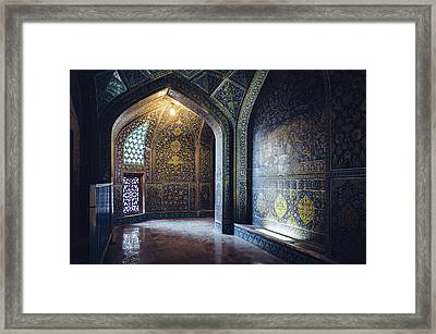 Mysterious Corridor In Persian Mosque Framed Print