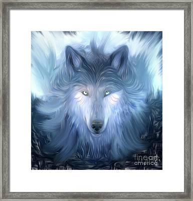 Mysterious Ghost Wolf Hand Painted Framed Print by Heinz G Mielke