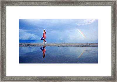 Mysterious Rainbow Girl Framed Print