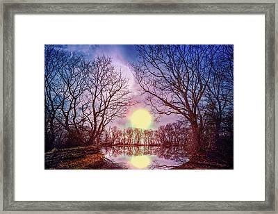 Mystery Lake Framed Print by Debra and Dave Vanderlaan