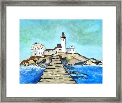 Mystery Lighthouse Framed Print by Anke Wheeler