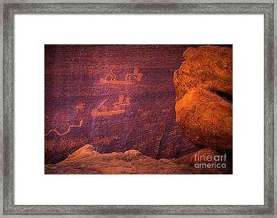 Mystery Valley Rock Art Framed Print by Inge Johnsson