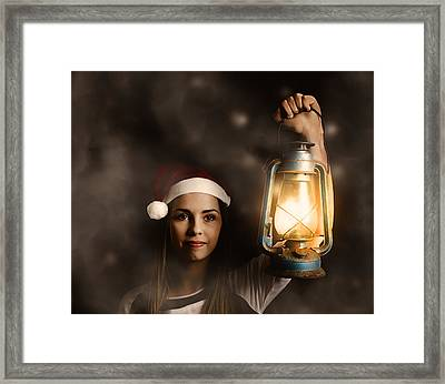 Mystery Woman On A Find And Seek Christmas Journey Framed Print