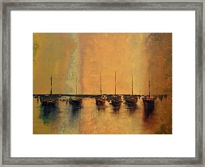 Mystic Bay Gold Framed Print by Ken Figurski