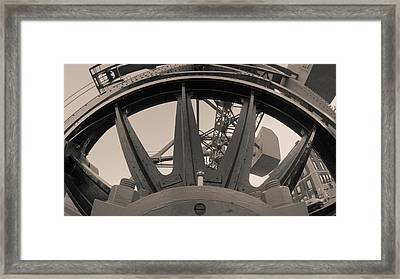 Framed Print featuring the photograph Mystic Bridge Gear In Mystic Ct by Kirkodd Photography Of New England
