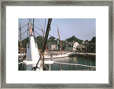 Mystic Harbor  Windjammers Vintage Tall Sailing Ships Picture Decor Framed Print