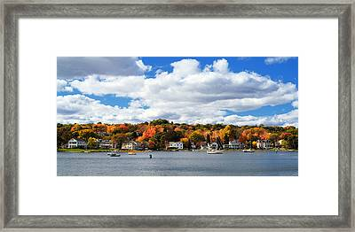 Mystic River In Autumn Framed Print by Stephanie McDowell