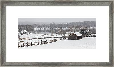 Mystic River Winter Landscape Framed Print