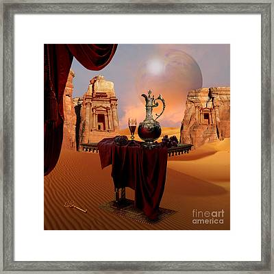 Framed Print featuring the digital art Mystic Ruins In Desert by Alexa Szlavics