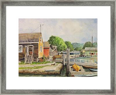 Mystic Seaport Boathouse Framed Print