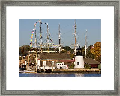 Mystic Seaport Lighthouse Framed Print by Kirkodd Photography Of New England
