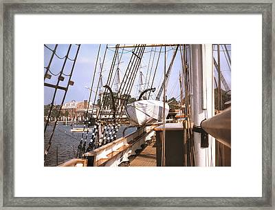 Mystic Seaport Windjammers Vintage Tall Sailing Ships Charles Morgan Picture Decor Framed Print by John Samsen