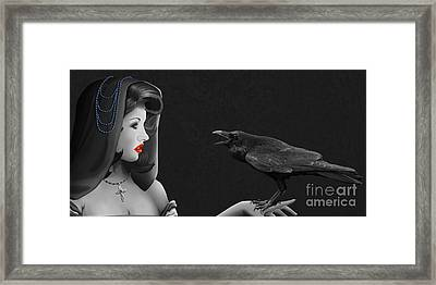 Mystic Woman With Raven Framed Print by Monika Juengling