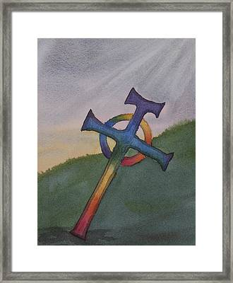Mystical Celtic Cross Framed Print by Debbie Homewood