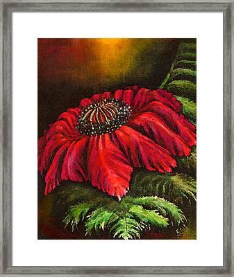 Mystical Fern Flower Red Version Framed Print by Art by Ela
