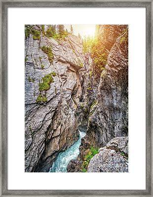 Mystical Gorge In Golden Light Framed Print by JR Photography