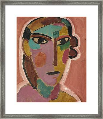 Mystical Women's Head On Red Ground Framed Print by Alexej von Jawlensky
