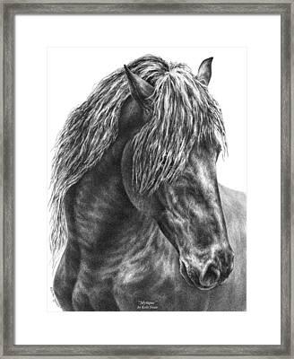 Mystique - Friesian Horse Portrait Print Framed Print