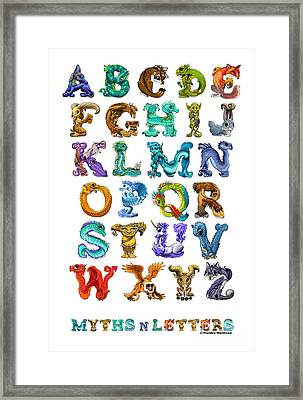 Framed Print featuring the digital art Myths N Letters by Stanley Morrison