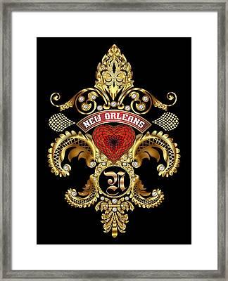 N-fleur-de-lis New Orleans Transparent Back Pick Color Framed Print by Bill Campitelle