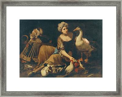 N Interior Scene With A Girl Feeding Cockerels Framed Print