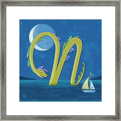 N Is For Nessie Framed Print