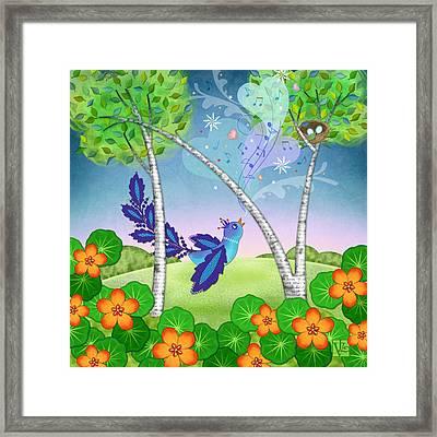 N Is For Nightingale Framed Print by Valerie Drake Lesiak