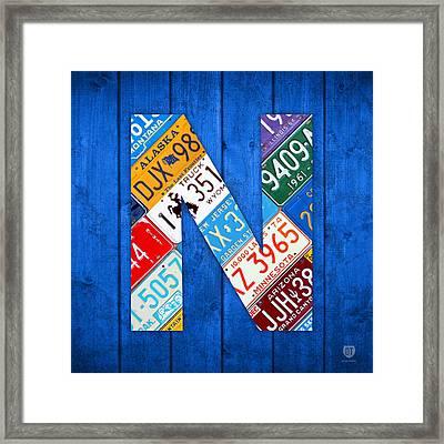 N License Plate Letter Art Blue Background Framed Print