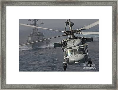 N Mh-60s Knight Hawk Delivers Supplies Framed Print by Stocktrek Images