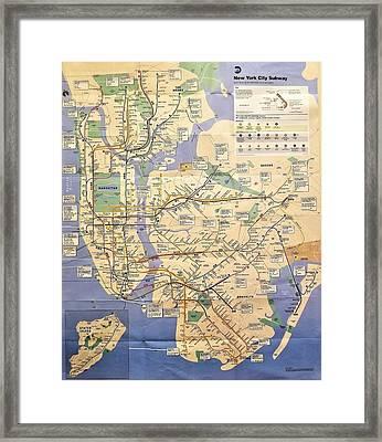 N Y C Subway Map Framed Print