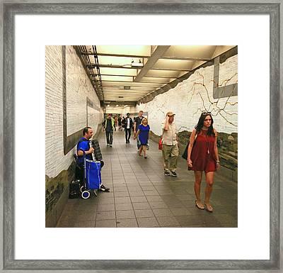 N Y C Subway Scene # 38 Framed Print by Allen Beatty