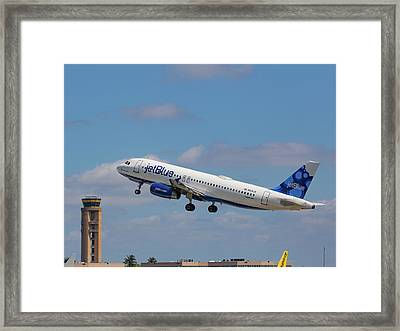 N625jb Jetblue At Fll Framed Print