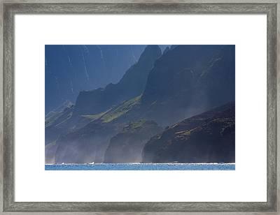 Na Pali Morning Mist Framed Print by Mike  Dawson