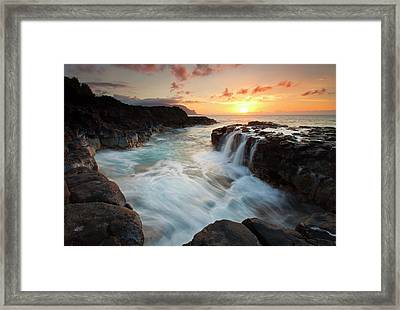 Na Pali Sunset Framed Print by Mike  Dawson