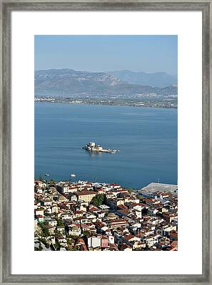 Nafplio Town And Bourtzi Fortress Framed Print