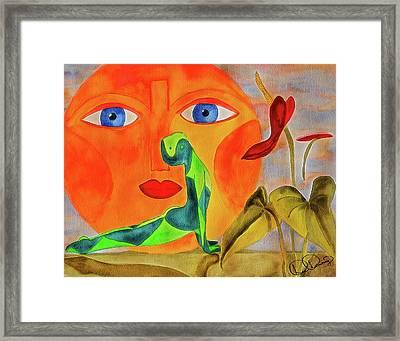 Yoga Watercolor Painting Framed Print