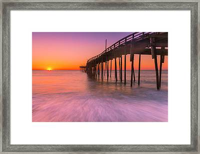 Nags Head Avon Fishing Pier At Sunrise Framed Print by Ranjay Mitra